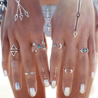 6PCS Vintage Turkish Beach Punk Moon Arrow Ring Set Ethnic Carved Antique Silver Boho Midi Finger Ring Knuckle Charm anelli R931