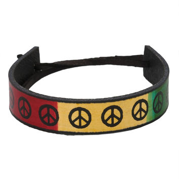 Rasta Peace Sign Leather Adjustable Bracelet