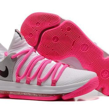 Nike Mens Kevin Durant Kd 10 White/pink Basketball Shoes