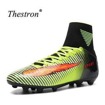Thestron Mens Soccer Shoes For Artificial Turf Football Boots Men Original Green Mens Soccer Cleats Kids Soccer Shoes