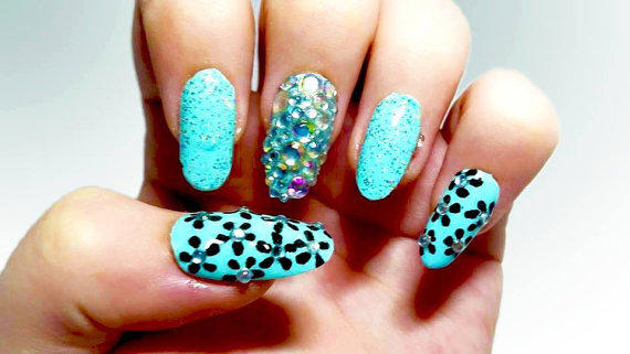Light Blue Fake Nails With Black Flowers From Ellurenails On Etsy