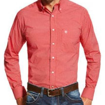 Ariat Men's Red Stoney Printed Long Sleeve Shirt