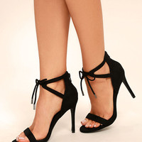 Kate Black Suede Ankle Strap Heels