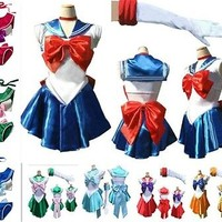 Red/Green Cosplay Sailor Moon Mercury Costume Uniform Fancy Dress&Gloves @AS01