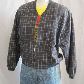 Classic 80s Vintage ESPRIT Zip  BOMBER JACKET Black and White Tattersall Plaid Check  Oversized