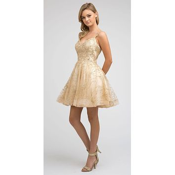 Short Champagne Homecoming Dress A-line Applique and Glitter
