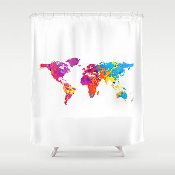 Bathroom Decor, Custom Shower Curtain, World Map, Fun, for Teens, for Kids, for Men, Rainbow