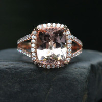 14k Rose Gold 11x9mm Morganite Cushion and Diamond Halo Split Shank Wedding or Engagement Ring (Choose color and size options at checkout)
