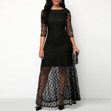 Women Evening Party Date Retro Gothic Black Polka Dot Maxi Dress Office Lady Work See Through Mesh Extra Long Bodycon Dresses