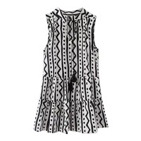 Geo-Print Sleeveless Tassel Tie Pleated Hem Top