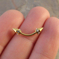 Gold Arrow Belly Button Jewelry Ring Tribal Arrow Head Eyebrow Ring