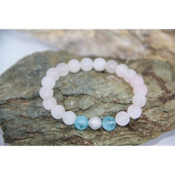 Rose quartz aquamarine gemstone beaded bracelet 925 sterling silver