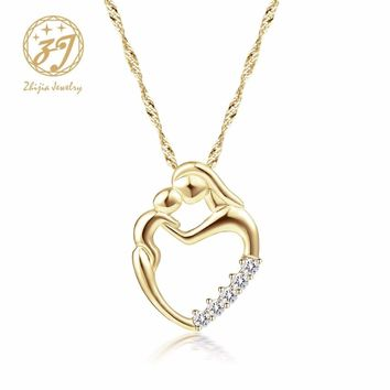 Zhijia Mother Baby Heart Charm Pendant Necklaces Mom Daughter Son Family Love Micro Pave Zircon Copper Necklace For Birthday