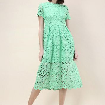 Floral Holiday Crochet Dress in Green