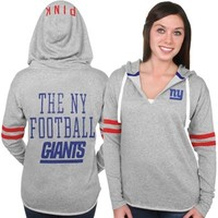 Women's New York Giants PINK by Victoria's Secret Gray Varsity Tunic Pullover Hoodie