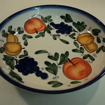 Hudson Bay Platter Serving Bowl 13 1/2in D x 3 1/2in H Fruit Country Ceramic -- Used