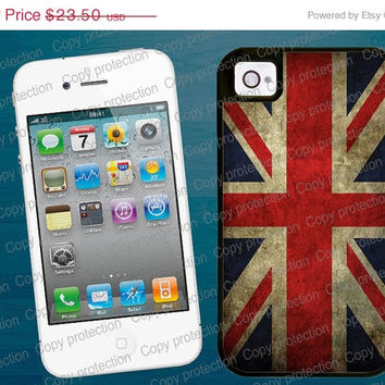 SALE 2 piece rubber lining iPhone case, British Tough iPhone 4/5 case - Union Jack iPhone 4 hard case