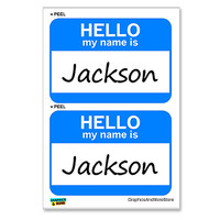 Jackson Hello My Name Is - Sheet of 2 Stickers