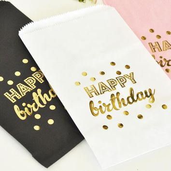 """""""Happy Birthday"""" Gold Foil Candy Buffet Bags (set of 12)"""