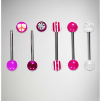 14 Gauge Peace Sign Barbell 5 Pack