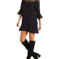 Black Lace Yoke Shift Dress with Flared Sleeves by Charlotte Russe