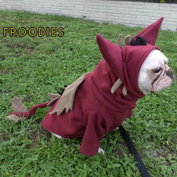 French Bulldog Boston Terrier Pug Dog Froodies Hoodies Halloween Costume Cosplay Maroon Black Tan Dragon Fleece Jacket Sweatshirt Coat
