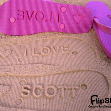 Personalized Sand Imprint Flip Flops by FlipSideFlipFlops on Etsy