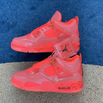 "[Free Shipping ]Air Jordan Retro 4 NRG ""Hot Punch"" Hot Punch/Black-Volt  AQ9128 600 Basketball Shoes"