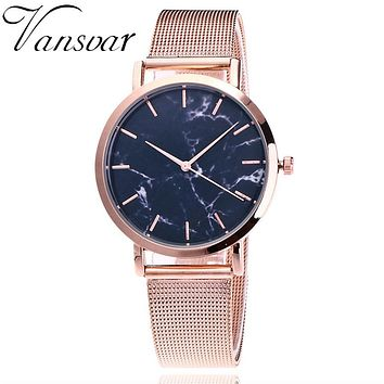 Casual Women Quartz / Silver And Gold Mesh Band / Creative Marble Wrist Watch