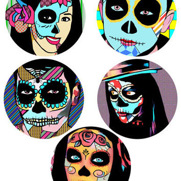 Day Of The Dead abstract art collage sheet skeletons skull graphics circles digital download images printables dia de los muertos printables