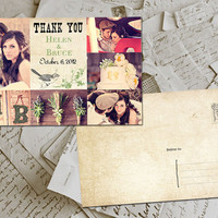 "50 Wedding Thank You Card - Toulouse Vintage Photo Personalized 4""x6"""