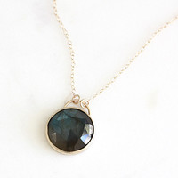 14k rose cut labradorite necklace