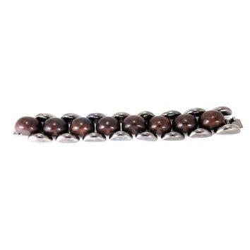 Pre-owned Yves Saint Laurent Gunmetal and Wood Bracelet