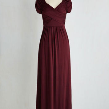 Long Short Sleeves A-line Ocean of Elegance Dress in Burgundy