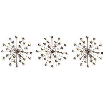 Stratton Home Decor Set of 3 Gold Burst - Walmart.com