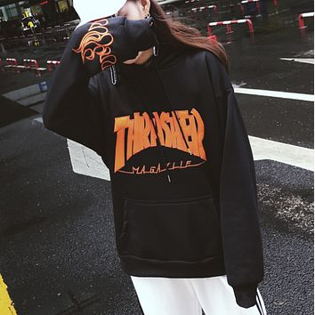 Thrasher new tide student loose ulzzang autumn and winter plus velvet ins super fire jacket  Black