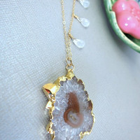 Evil eye druzy stalactite gold pendant moonstone gold filled necklace