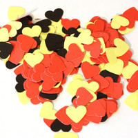 Little Yellow, Red and Black Hearts: 25, 100, 250, 500 - paper, Scrapbook Embellishment, Cardmaking supplies, 1/2 inch, disney table scatter