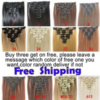 """7pcs/set 22"""" 55cm 130g Clip in Hair Extensions Synthetic Clip In Hair Extension Straight Hair Extension Free Shipping"""