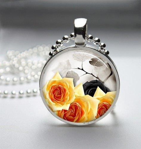 Yellow And Black Roses Glass Tile Bezel Round Pendant Necklace