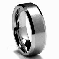 8MM Tungsten Metal Men's Wedding Band Ring in Comfort Fit and Matte Finish Size 7-16