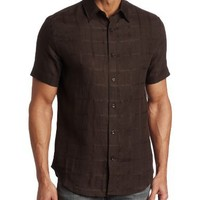 Perry Ellis Men's Short Sleeve Tonal Plaid Linen Woven