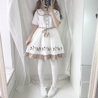 Lolita Style Strawberry Embroidery Doll Dress