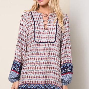 Chevy Lace Up Bohemian Dress