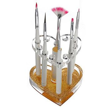 Hot 12 Holes Acrylic Pen Holder Heart Gold Rest Stand Display Makeup Nail Gel Brush Holder Home Office Pen Holder