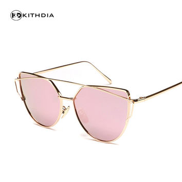 KITHDIA New Women 5 Color Luxury Cat Eye HD polarized Sunglasses Women Sunglasses Double-Deck Alloy Frame UV400