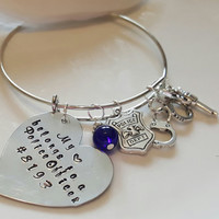 Wire Bangle - Charm Bracelet - My Heart Belongs to a Police Officer - Personalized - Birthstone - Police Wife