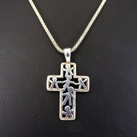 Sterling Silver Cross Pendant, with Cut out Famiy / Children, Fine Chain Link Necklace 1980s 1990s Vintage Christian Religious Jewelry