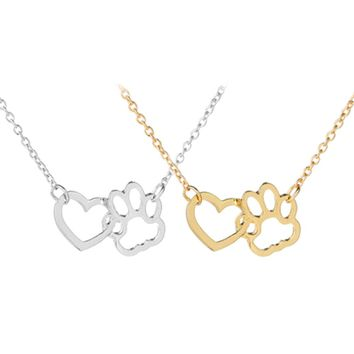 1pc Hollow Linked Heart Paw Dog Footprint Claws Pendant Necklaces Gold Silver Color Animal Jewelry Gift for Dog Lovers