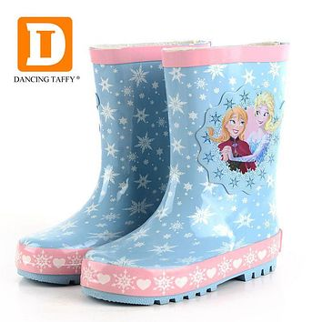 Fashion Princess Kids Rainboots New Ice Snow Queen Girls Boots Children Shoes Mid Calf Elsa Anna Rain Boots For Baby Rubber Shoe